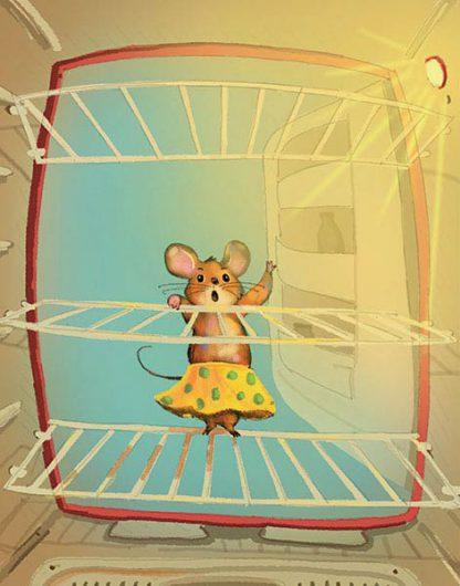 Ilustrácia © Ľuboslav Paľo 2017: Prekvapená myška Raťapíška pozerá na prázdne poličky vysvietenej chladničky.