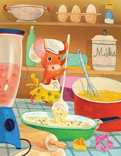 Ilustrácia © Ľuboslav Paľo 2018: Myška Raťapíška v kuchyni na stole pripravuje dobroty na oslavu. Na hlave má kuchársku čiapku a opásanú zásteru. V labkách drží veľkú bielu varechu a mieša krém v zelenej panvici. Na stole je mixér, valček na cesto, formičky na vykrajovanie a červený hrniec s metličkou. Na poličkách v zadu sú naukladané potraviny a kuchynský riad.